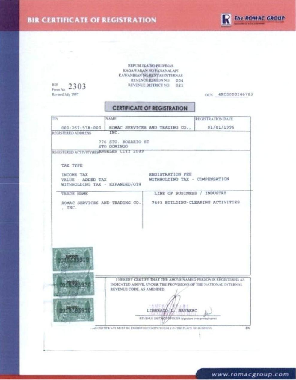 BIR Registration