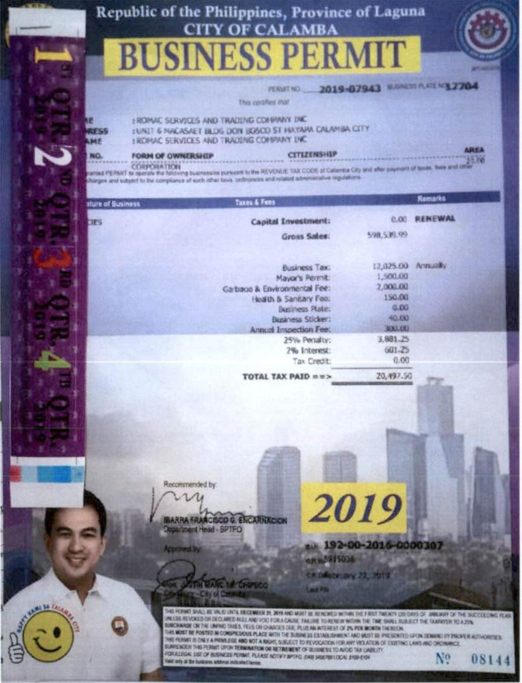 Calamba Laguna Business Permit 2019