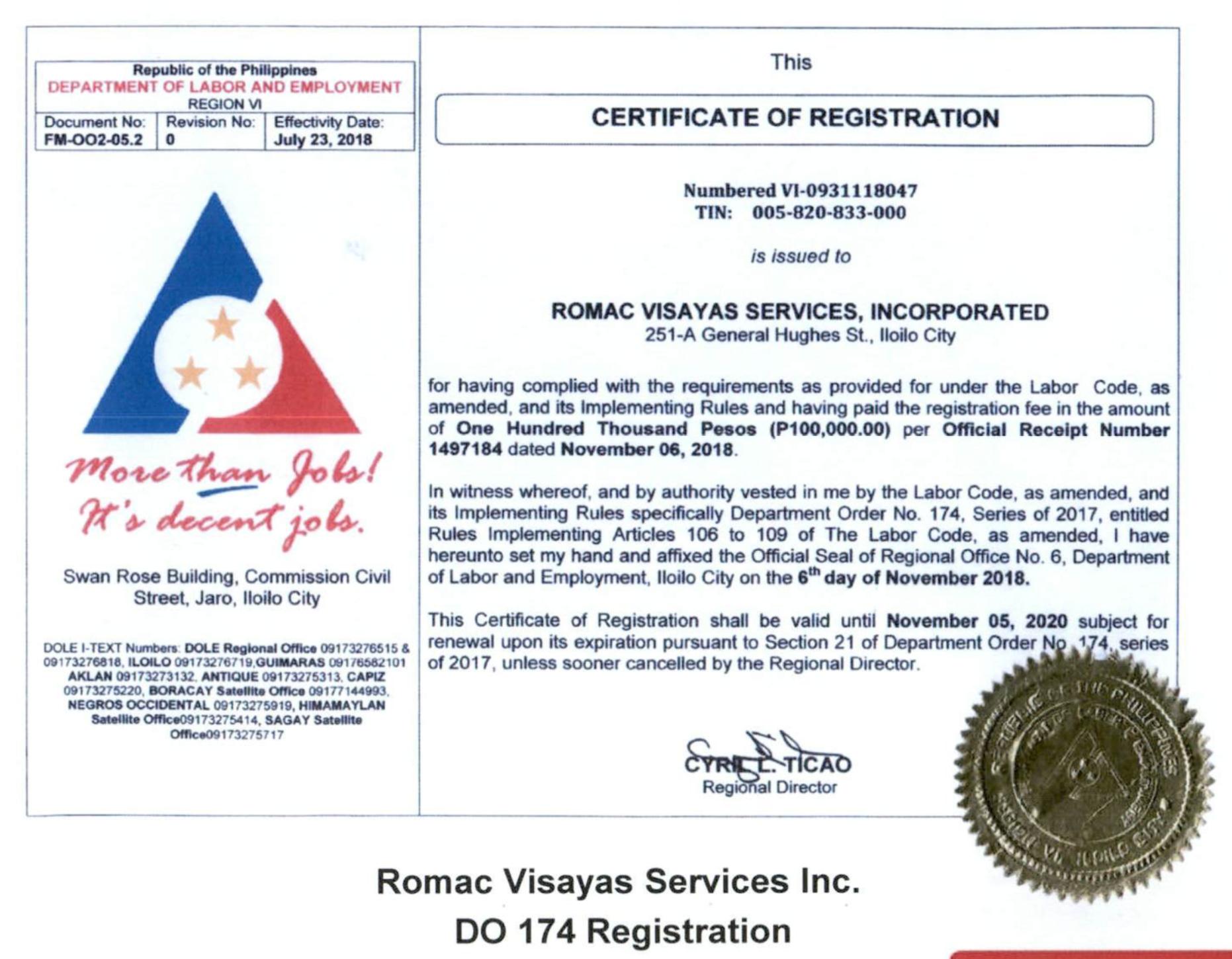 Romac Visayas Services Inc. DO 174 Registration