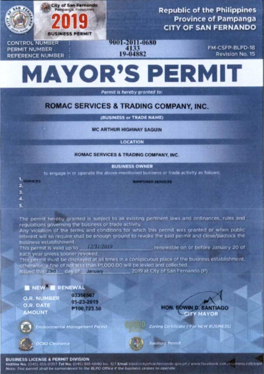 SFP Mayor's Permit 2019