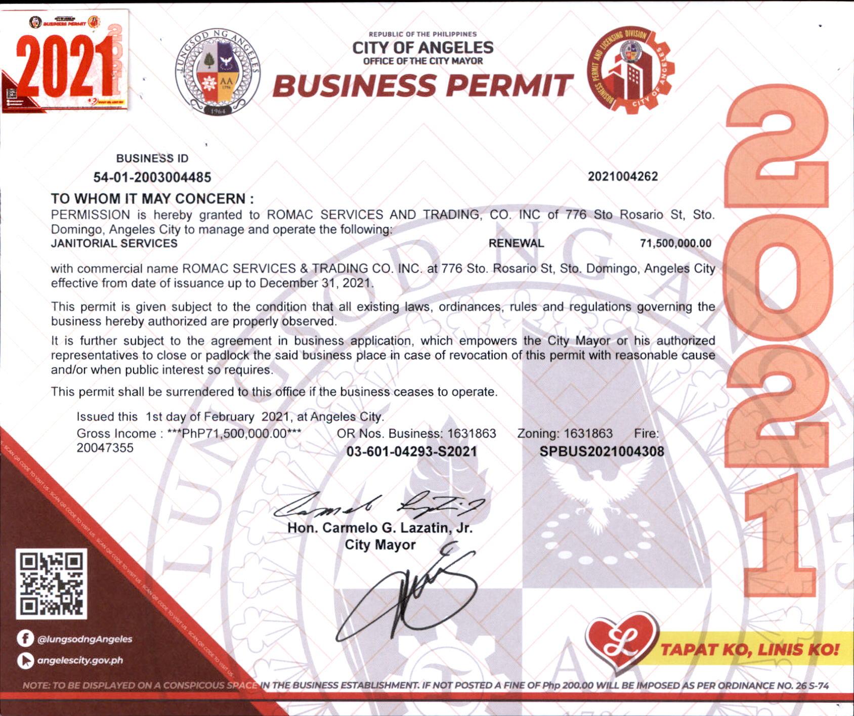 ROMAC SERVICES AC BUSINESS PERMIT 2021